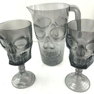 Gray Skull Pitcher and two Goblets Halloween NEW